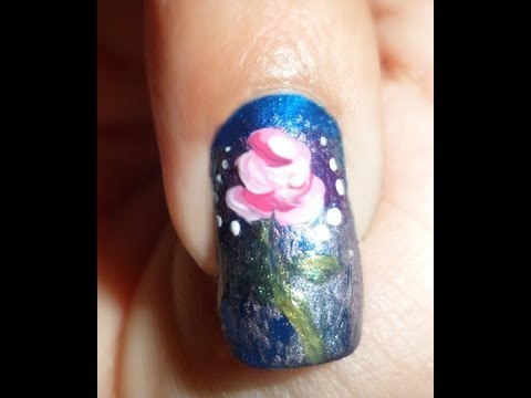 Enchanted Rose Nails! - My second entry to CuteDesigns's contest - Movie Inspired by! First theme.