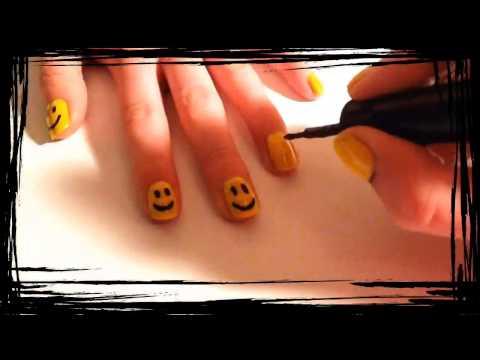 Smiley nail art design