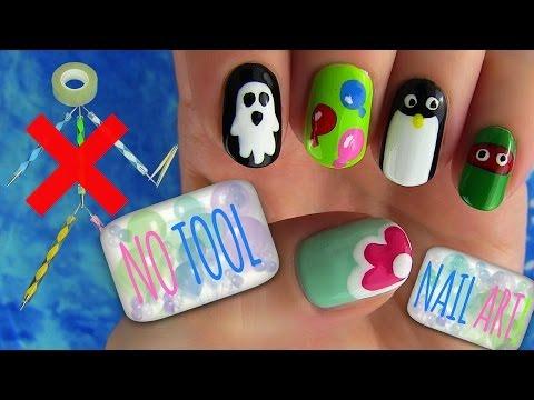 No Tools Nails Tutorial! 5 Nail Art Designs Without any Nail Art Tools