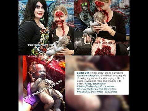Custom Zombie Mom Prothetic Belly & Zombie Baby With Umbilical Cord
