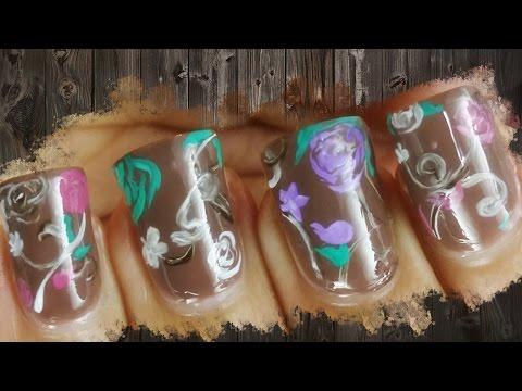 Chocolate Floral Artistic Nail Art