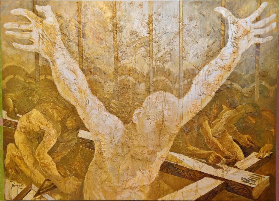 Leonard PERVIZI. 160x220cm. Christ Croix 9eme LEGION. ÖL