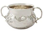 Britannia Standard Silver Porringer - Charles II Style - Antique George V