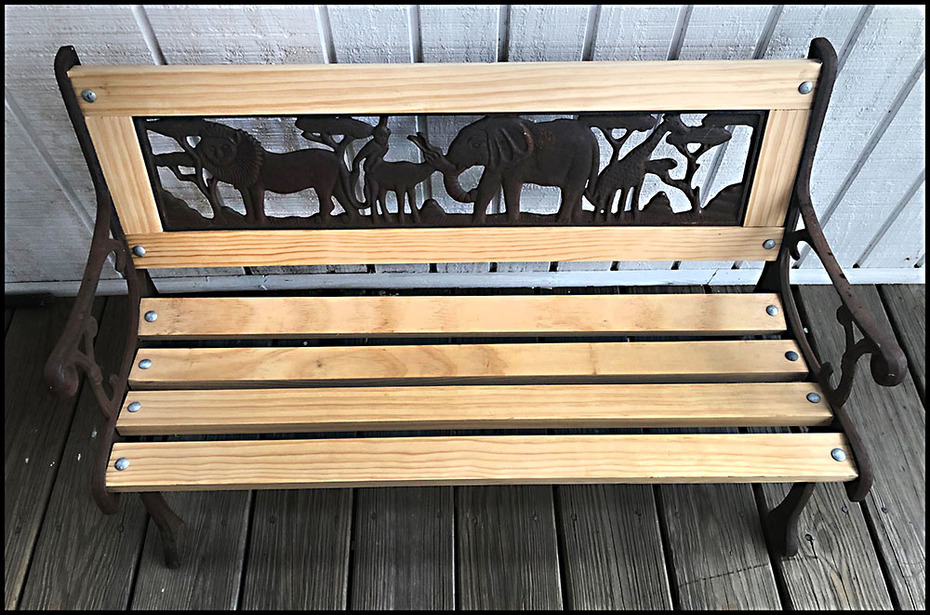 Rebuilt children's bench, garbage find 20+ years ago.