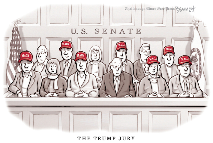 "The Trump Jury: 12 men and women in a jury box labeled ""U.S. Senate"", depicted in muted tones except for the bright red MAGA caps seven of the jurors are wearing."