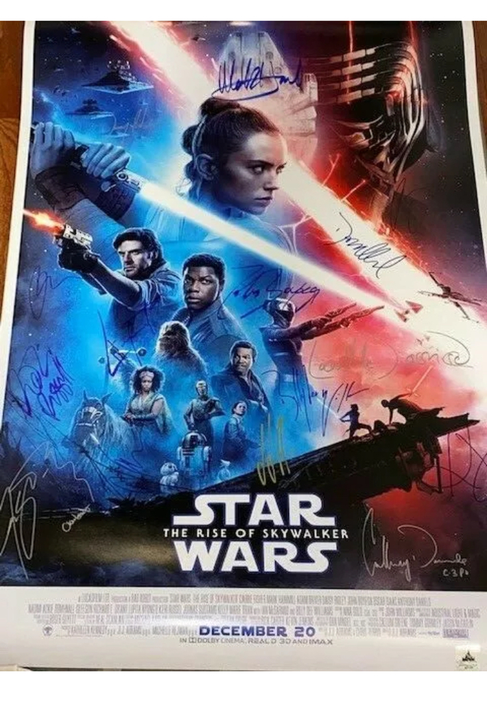 Star Wars Rise Of Skywalker Cast Signed Poster Real Autograph Live