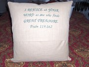 Back of the pillow with Psalm 119:162
