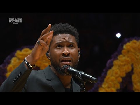 """Usher is singing """"Amazing Grace"""" during the Lakers' tribute to Kobe Bryant"""