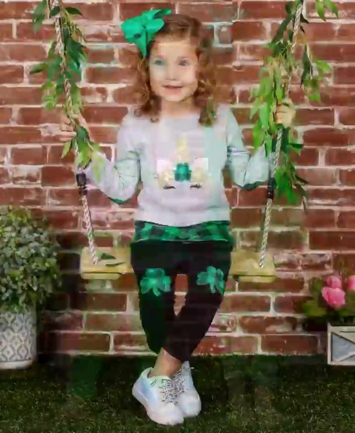 Girls St. Patrick's Day Themed Clover Applique Top & Sequin Leggings Set