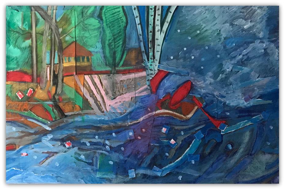 """Sabbathday Lake - Mixed Media on canvas -24""""x36"""""""