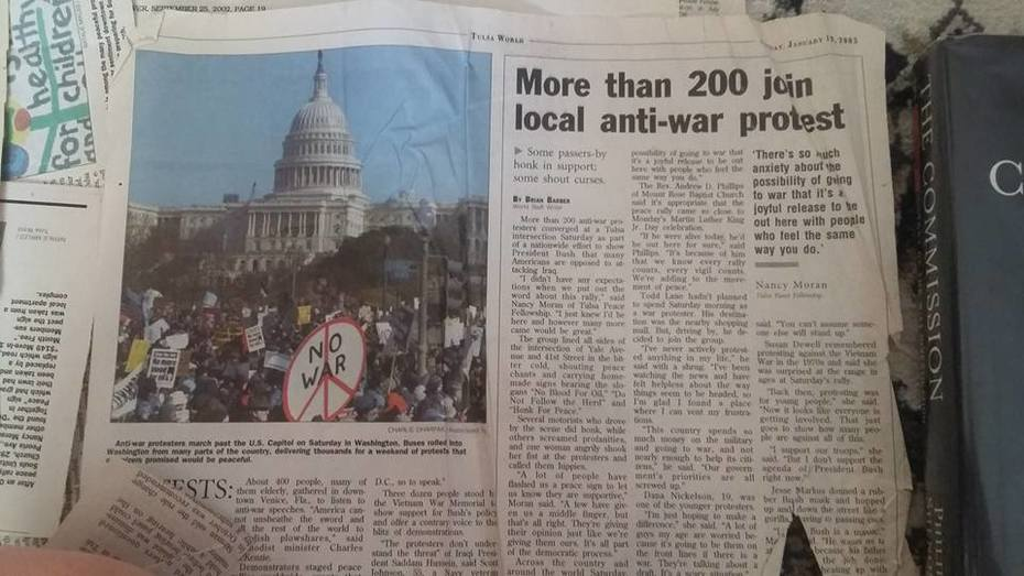antiwar demonstration, more than 200 protesting, covered in Tulsa World Jan2003