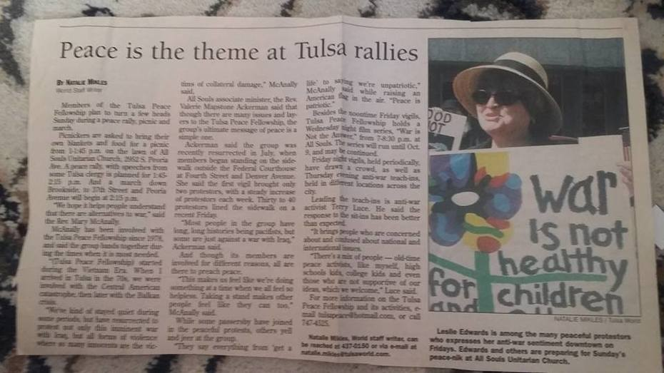 antiwar demonstration covered in Tulsa World Jan2003_with LeslieEdwards in photo
