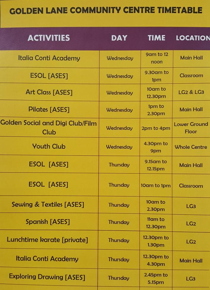 Golden Lane Community Centre Spring 2020 Timetable