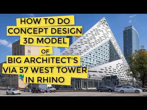 How to do CONCEPT DESIGN -Create BIG's 57 West Tower in Rhino (FULL 2mins); Beginner Rhino Tutorial