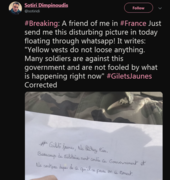 Yellow vests do not loose anything. Many soldiers are against this government and are not fooled by what is happening right now 2