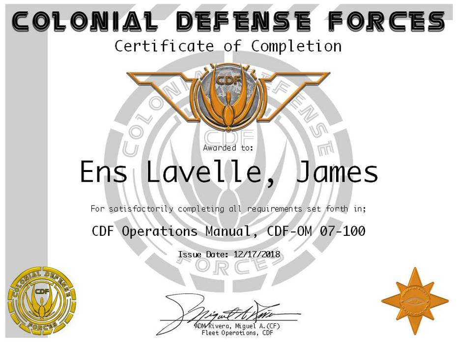 Ens James Lavelle Ops Cert