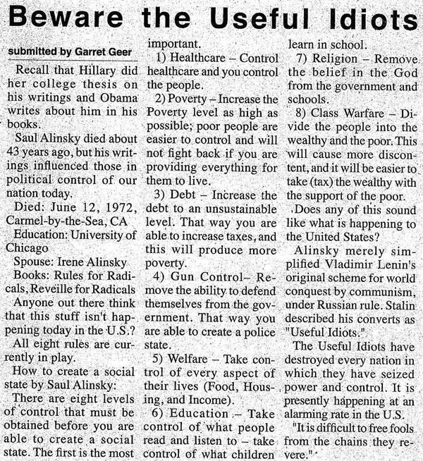 Saul Alinsky's useful idiots