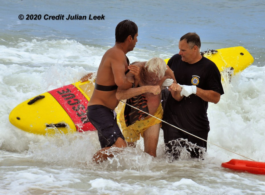 Ocean Rescue saves three people from the rough surf