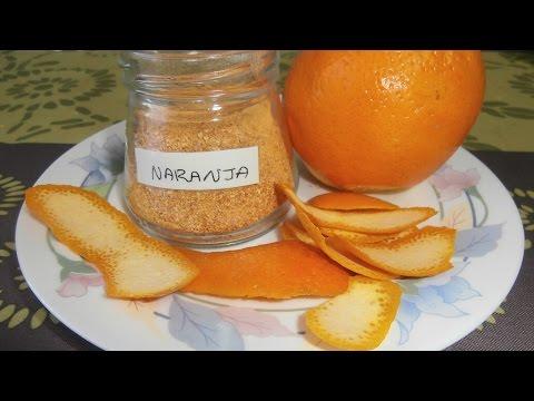 Como deshidratar la piel de la naranja y pulverizarla.