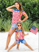 Mommy & Me 4th of July Themed American Flag Side Knot Top 2