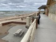 Ludington state park beach house and beach erosion. Michigan