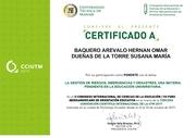 """Certificado de Ponencia con el Tema """"Gestión de Riesgos, una materia pendiente en la educación universitaria"""