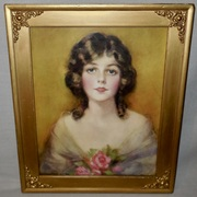 Lady with Roses Vintage Print by J. Knowles Hare