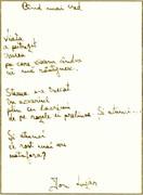 """""""Când mai cred"""" - poezie de Ion Lazăr da Coza reprodusă în facsimil"""