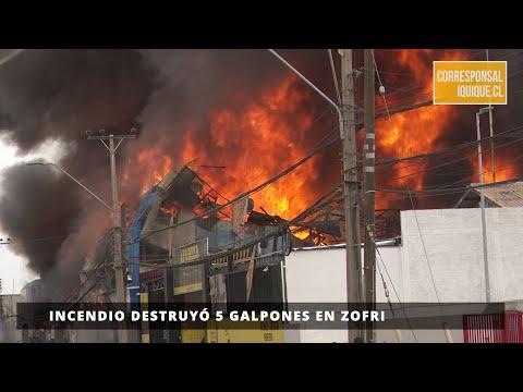 INCENDIO DESTRUYÓ 5 GALPONES EN ZOFRI - IQUIQUE, CHILE / Vídeo Destacado de La Hermandad de Bomberos