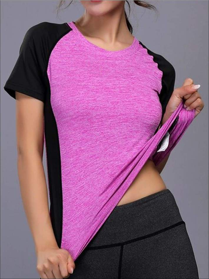 Women's Contrast Panel Quick Dry Workout Top 3
