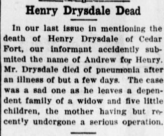 henry drysdale actual obit retraction