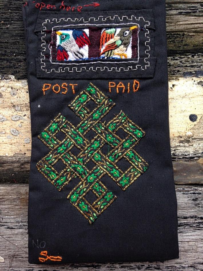 Embroidered fabrc envelope: Landfall in Hawaii