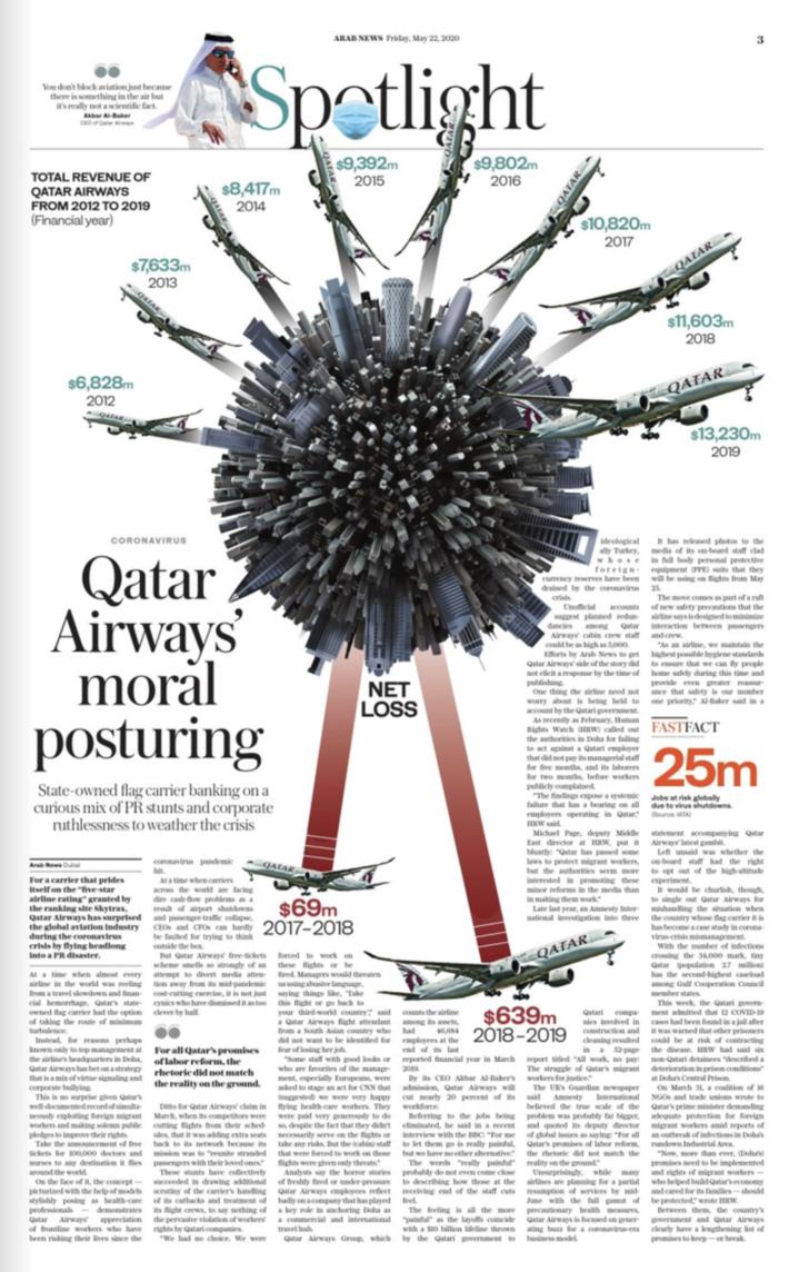 Qatar Airways moral posturing