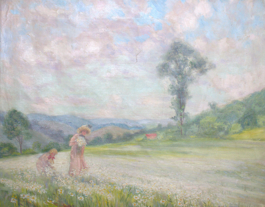 Mother and Daughter Picking Daisies
