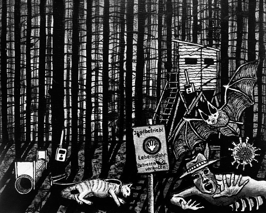 """© Ivo Kamphuis, """"The Animal Crusade"""", inkt op papier, 24 x 30 cm"""