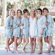 Gray Bridesmaid Robes with Ruffles