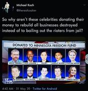 Celebs donate to Antifa fund.