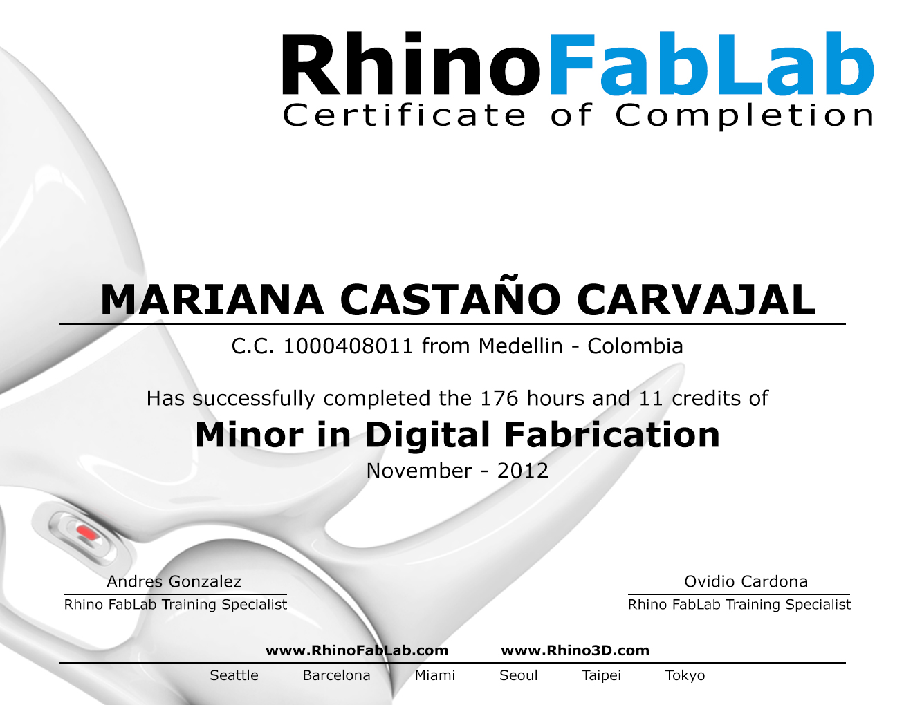 Digital Fabrication Minor / Diplomado at UPB's RhinoFabLab