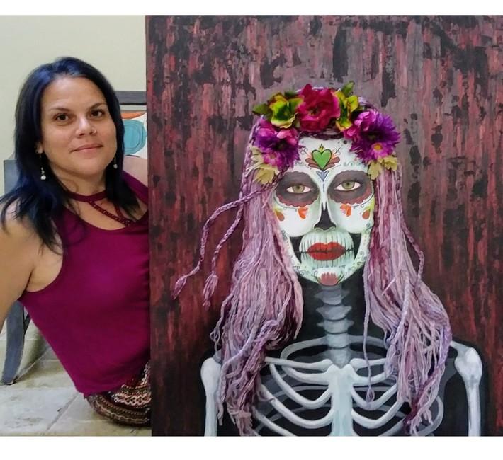 Samhain Parade Catrina  by Eileen A Art