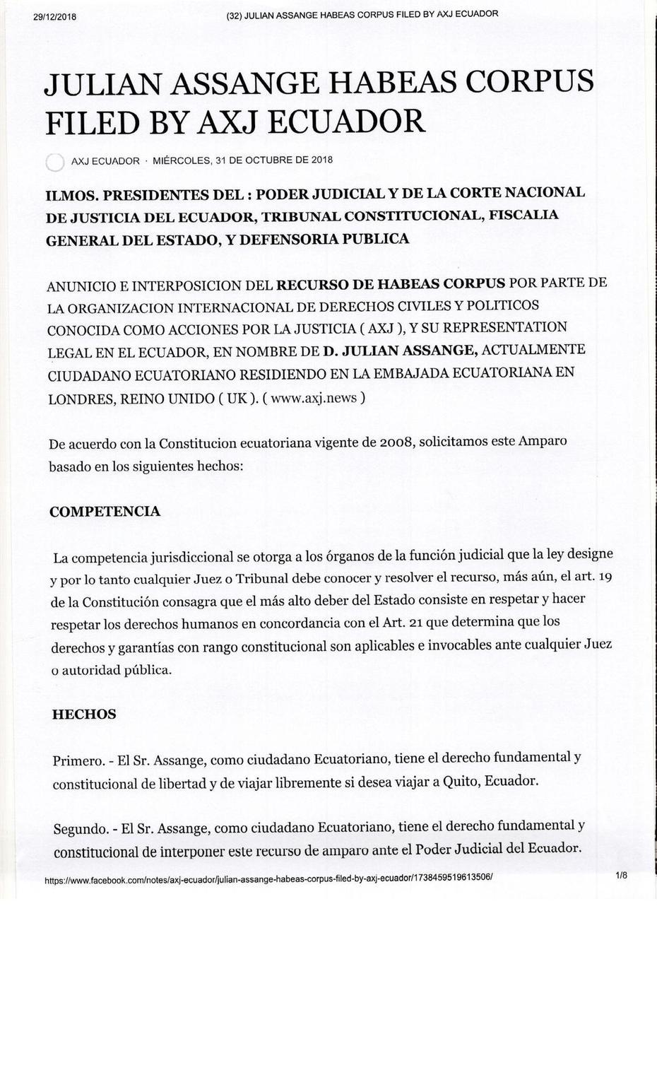JULIAN ASSANGE HABEAS CORPUS FILED BY AXJ ECUADOR