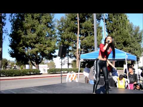Mali Nicole sing's at the Christmas toy giveaway, Baldwin Hills Crenshaw Plaza, 12/13/2014