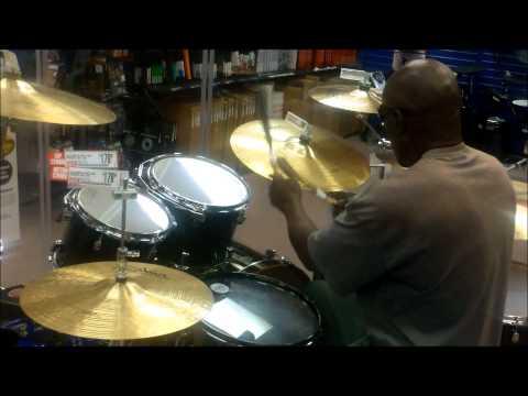 Blind Man Plays Drums at Guitar Center in Pasadena, Ca (Inspirational)
