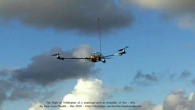 Flight of the TrIMUpter with ArduIMU + GPS