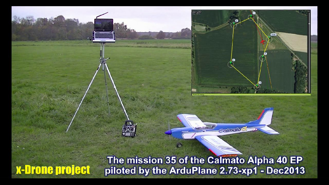 Mission 35 (gusty wind conditions) with the Calmato piloted by the ArduPlane v2.73-xp1