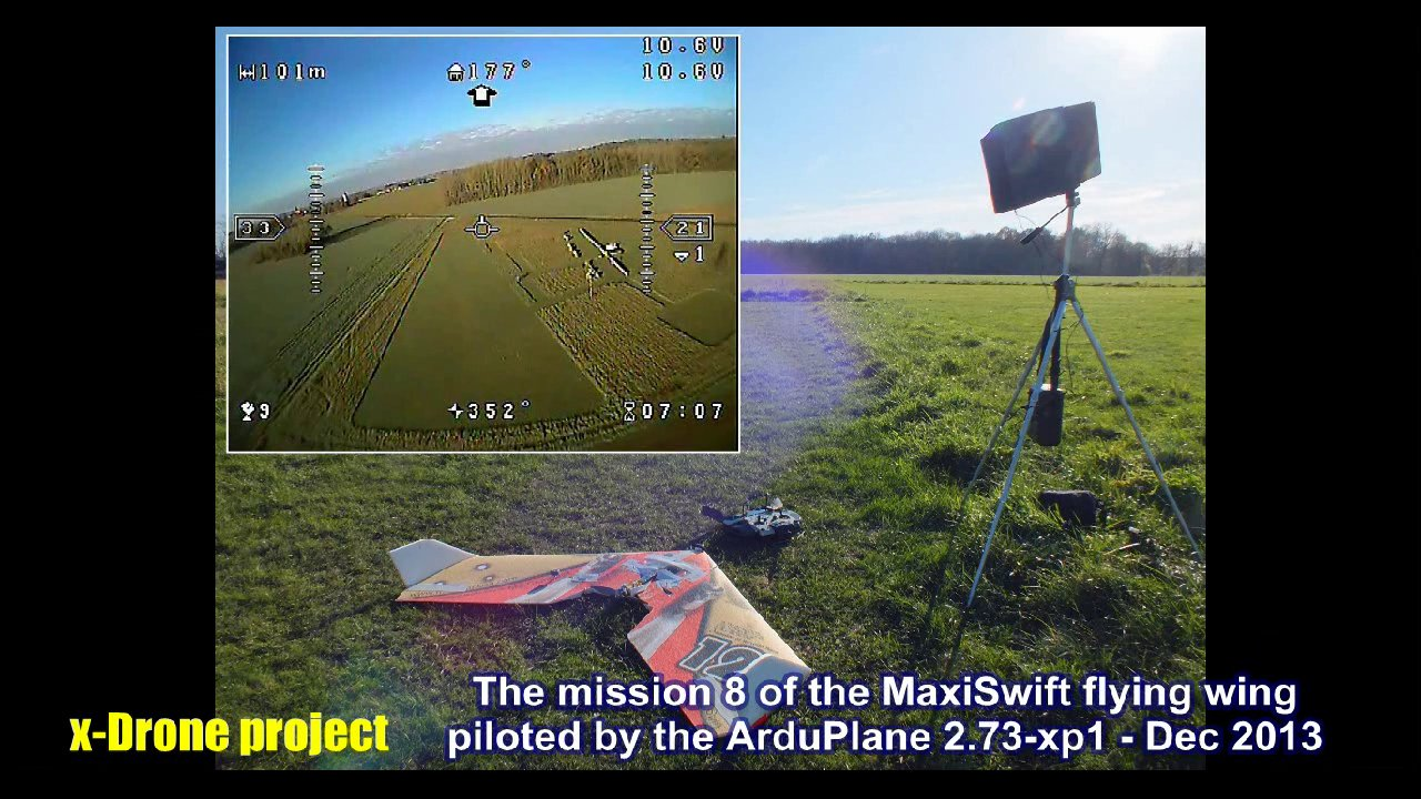 Low altitude autonomous flight mission with the MaxiSwift piloted by ArduPlane v2.73-xp1