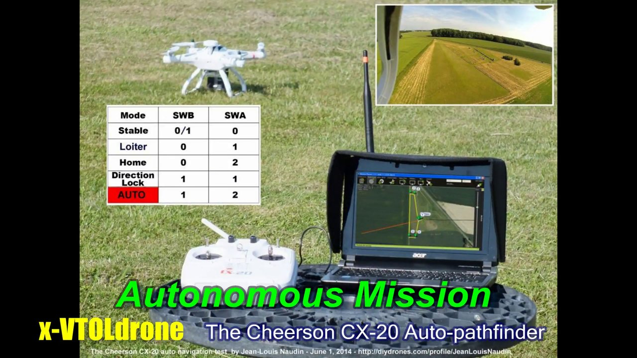 Full autonomous flight mission with the Cheerson CX-20 auto-pathfinder