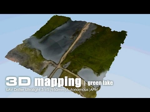Aerial 3D mapping - Green lake area using UAV Drifter ultralight on APM