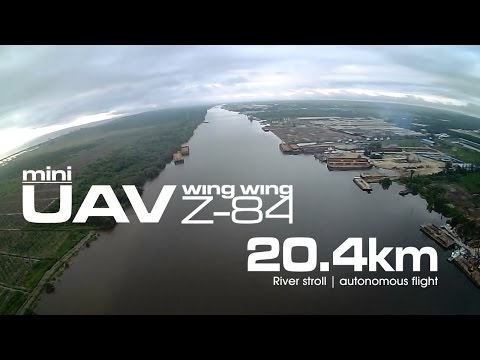 20.4km River stroll - Mini UAV Wing Wing Z-84 using Li-On (LG MJ1 18650)