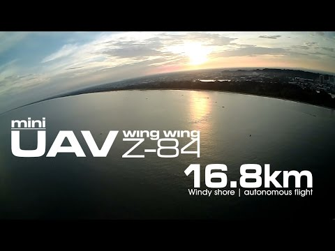 16.8km Windy shore - Mini UAV Wing Wing Z-84 using Li-On (LG MJ1 18650)