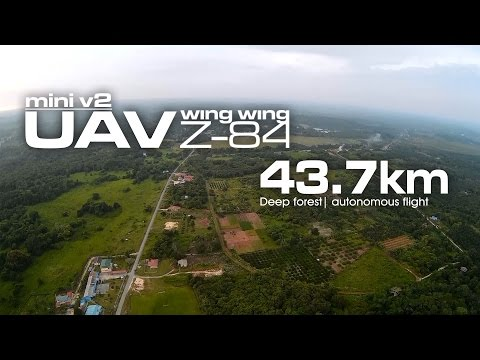 43.7km Deep forest - Mini UAV Wing Wing Z-84 second build